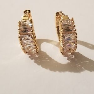 Small Cubic Zirconia Gold Hoops
